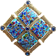 Fabulous Millefiori Glass Vintage Brooch or Pendant