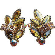 Fabulous FOIL GLASS & Rhinestone Vintage Earrings