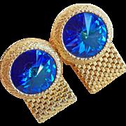 Awesome Dante BLUE RIVOLI Rhinestone Wrap Vintage Cufflinks