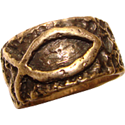 Awesome JAMES AVERY STERLING Rugged Fish Design Vintage Ring