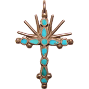 Gorgeous STERLING & Flat Inlay Turquoise Vintage Cross Pendant