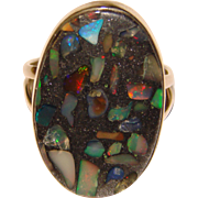 Fabulous OPAL Inlay Sterling Vintage Ring