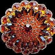 Fabulous Huge D&E Juliana Rhinestone Vintage Brooch - Large - Autumn Fall Colors Brown Amber Orange