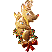 Awesome BEATRIX Signed Rhinestone Christmas Deer Vintage Brooch