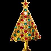 Beautiful RED & GREEN Rhinestone Vintage Christmas Tree Brooch