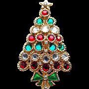 Gorgeous Vintage RED & GREEN Rhinestone CHRISTMAS TREE Brooch