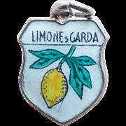 Vintage ITALY Limone sul Garda 800 Silver & Enamel Estate Charm - Italian Town Travel Souvenir