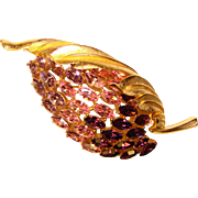 Fabulous OMBRE Purple Pink Navette Rhinestone Vintage Brooch