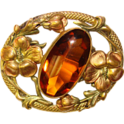 Fabulous Antique Hibiscus AMBER GLASS Sash Pin Brooch