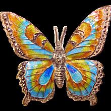 Fabulous ALICE CAVINESS Sterling & Marcasite Enamel Butterfly Brooch