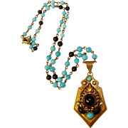 Fabulous Czech ART DECO Black & Aqua Glass Necklace