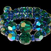 Fabulous GREEN & BLUE Aurora Crystal Double Row Bracelet