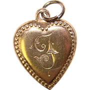 Fabulous Sterling PUFFY HEART Charm - Engraved With Letter T