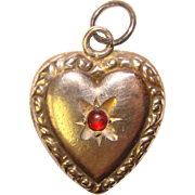 Fabulous Sterling PUFFY HEART Charm With Red Stone