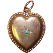 Fabulous Sterling PUFFY HEART Charm With Turquoise Glass Stone