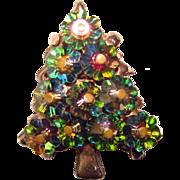 Gorgeous MARGARITA CRYSTAL Vintage Christmas Tree Brooch