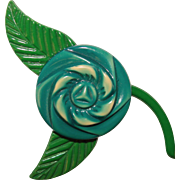 Awesome CELLULOID Vintage Green Flower Brooch