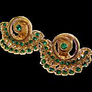 Fabulous GREEN RHINESTONE Vintage Dangle Earrings
