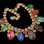 Fabulous 1940's Faux Pearl ART GLASS Dangles Vintage Necklace