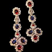 Fabulous JOAN RIVERS Signed Red & Blue Long Rhinestone Dangle Earrings