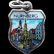 Nurnberg Nuremberg 800 Silver & Enamel Vintage Estate Charm - Souvenir of Germany