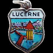 Lucerne 800 Silver & Enamel Vintage Estate Charm - Souvenir of Switzerland