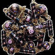 Venetian Italian Glass Wedding Cake Bead Vintage Necklace - Black with Gold Sparkle Murano