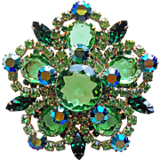 Fabulous D&E Juliana Green Rhinestone Vintage Estate Pin Brooch