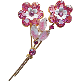 Gorgeous Pink Rhinestone & Givre Glass Vintage Brooch - Open Backed Stones