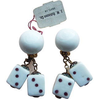 Awesome GLASS DICE Vintage Earrings - with Original Tag