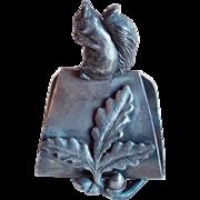Antique Squirrel & Acorns Figural Victorian Napkin Ring - Silver Plated - James W Tufts Boston