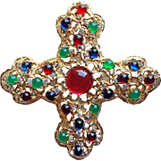 "Fabulous JOMAZ Signed Huge 4"" Mogul Moghul Vintage Pendant Brooch - Joseph Mazer - Jeweled Glass & Rhinestones"