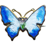 Tiny Antique Butterfly Enamel Mini Brooch - For Your Doll