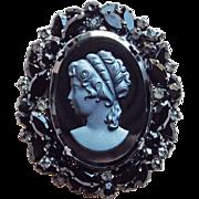 Fabulous D&E JULIANA Glass Cameo Black Rhinestone Vintage Brooch