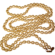 """Fabulous Long MIRIAM HASKELL Glass Baroque Pearl Necklace - 58"""" Long"""