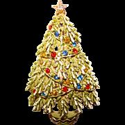 Fabulous ART Signed Vintage CHRISTMAS TREE Rhinestone Enamel Brooch