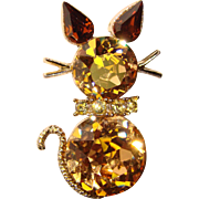 Gorgeous DODDS Signed Rhinestone CAT Brooch