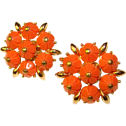 Gorgeous TRIFARI Coral Colored Stones Vintage Clip Earrings