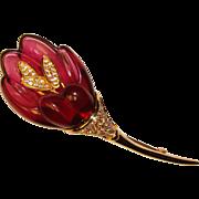 Fabulous NOLAN MILLER Dimensional Lucite Flower Rhinestone Brooch