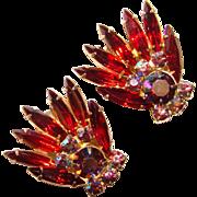 Fabulous D&E JULIANA Vintage RED Aurora Clip Earrings