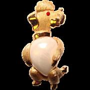 Wonderful TRIFARI Pearl Belly DOG Figural Vintage Brooch