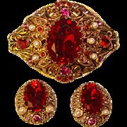 Fabulous W. GERMANY Red Glass Rhinestone Brooch SET