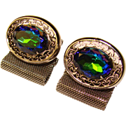 Awesome BLUE GREEN Glass Stone Mesh Wrap Vintage Estate Cufflinks