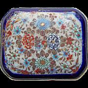 Fabulous SATSUMA Handpainted Pottery Porcelain Antique Brooch - Butterfly & Flowers - Meiji Period