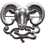 Fabulous CINI STERLING Vintage Brooch - Aries Ram Zodiac Astrology