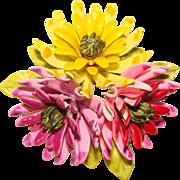 Fabulous COROCRAFT Dimensional Enameled Flowers Brooch