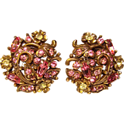Fabulous HOLLYCRAFT Pink & Yellow Rhinestone Copr. 1950 Earrings