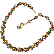 Fabulous HOLLYCRAFT Colored Rhinestones Copr. 1953 Necklace