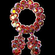 Fabulous RED AURORA Rhinestone Vintage Brooch & Clip Earrings Set