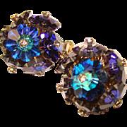 Fabulous VENDOME Purple Blue Margarita Crystal Vintage Clip Earrings